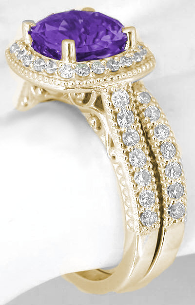 Cushion Cut Amethyst Diamond Halo Engagement Ring And Matching Diamond Wedding Band In 14k