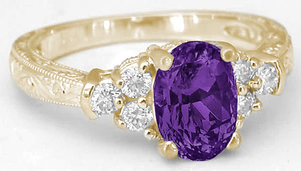 Amethyst And Diamond Engraved Engagement Ring In Yellow