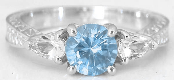 Three Stone Aquamarine Engagement Ring and Engraved Wedding Band in 14k White Gold GR1124