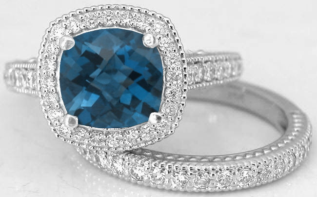 Cushion Cut London Blue Topaz Diamond Engagement Ring And Matching Diamond Wedding Band In 14k