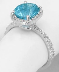 Cushion Cut Blue Zircon Engagement Ring in 14k white gold ...