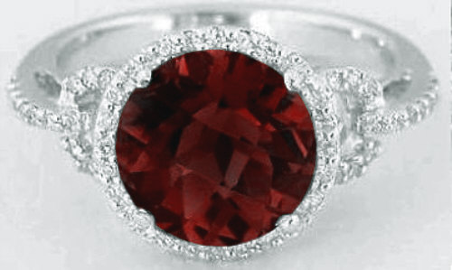 8mm Round Garnet And Diamond Halo Engagement Ring In 14k