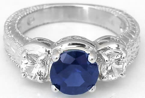 Past Present Future Ornate Engraved Sapphire Engagement Ring And Matching Wedding Band With