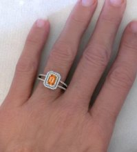 Orange Sapphire Ring with Double Diamond Halo Setting in ...