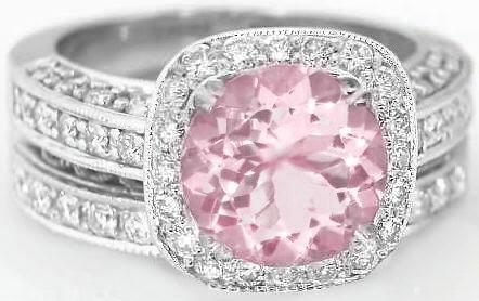 290 Ctw Light Pink Round Sapphire And Diamond Halo