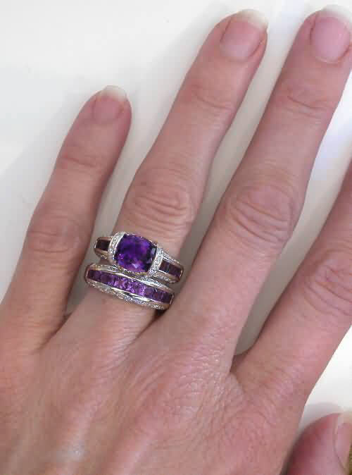 Amethyst And Diamond Engagement Bridge Ring In 14kGR 2064