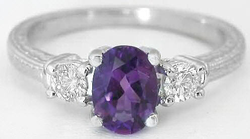 3stone Amethyst Engagement Ring and Wedding Band with
