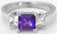 Princess Cut Amethyst and White Sapphire Engagement Ring ...