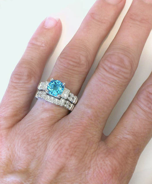 8mm Round Swiss Blue Topaz And Diamond Engagement Ring In 14k White Gold With 3 Matching Band