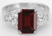 Emerald Cut Red Garnet and Diamond Engagement Ring in 14k ...