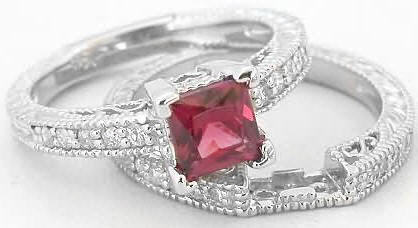 Princess Cut Rhodolite Engagement Ring With Matching Band With Vintage Antique Details In 14k