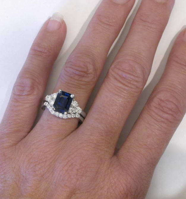 Emerald Cut Rich Blue Sapphire And Round Diamond
