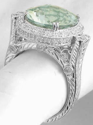 Antique Style Green Amethyst Diamond Halo Engagement Ring