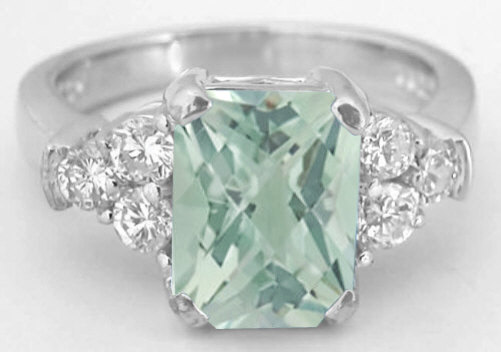 Radiant Green Amethyst And Diamond Engagement Ring In 14k