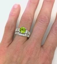 Peridot Engagement Ring in 14k white gold with matching ...