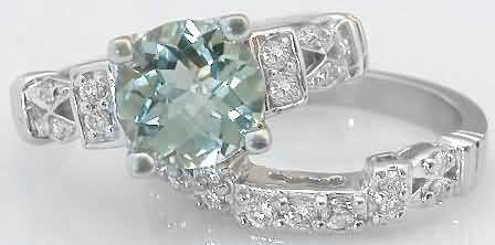 Green Amethyst Engagement Ring And Matching Contoured