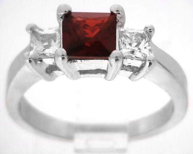 Three Stone Garnet Diamond Alternative Engagement Ring