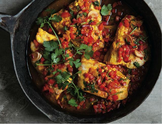 Moroccan Fish And Crispy Rice Cake With Saffron Crust