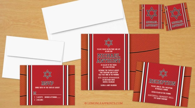 Basketball Theme Bar Mitzvah Invitation Set