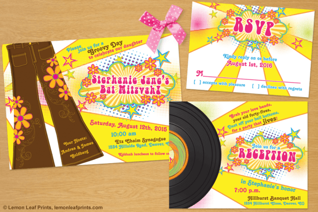 70s Disco Bat Mitzvah Invitation Set