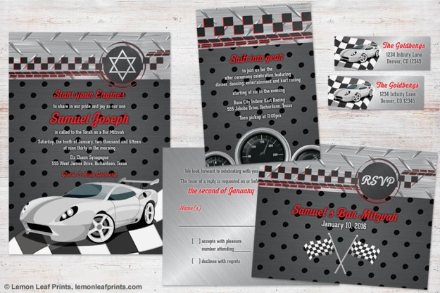 Nascar Car Racing Bar Mitzvah Invitation Set | or Go-Cart racing