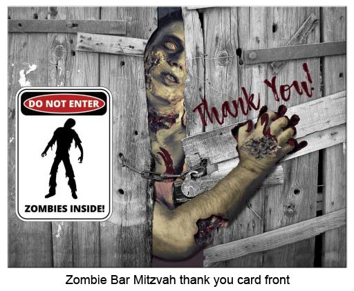 front of zombie Bar Mitzvah thank you card