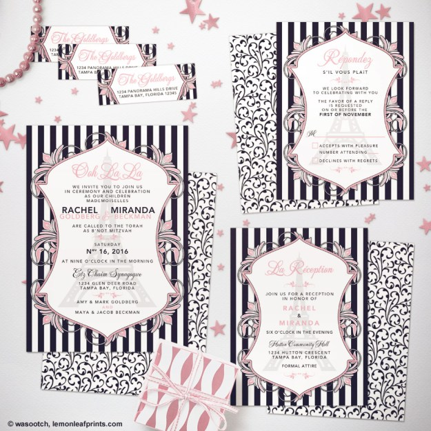 Paris Eiffel Tower Chanel B'Not Mitzvah Invitation Set