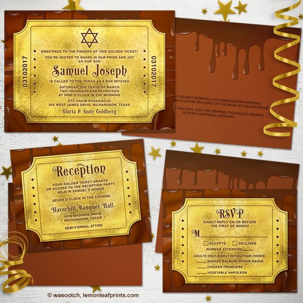Willy Wonka Golden Ticket Bar Mitzvah Invite Set