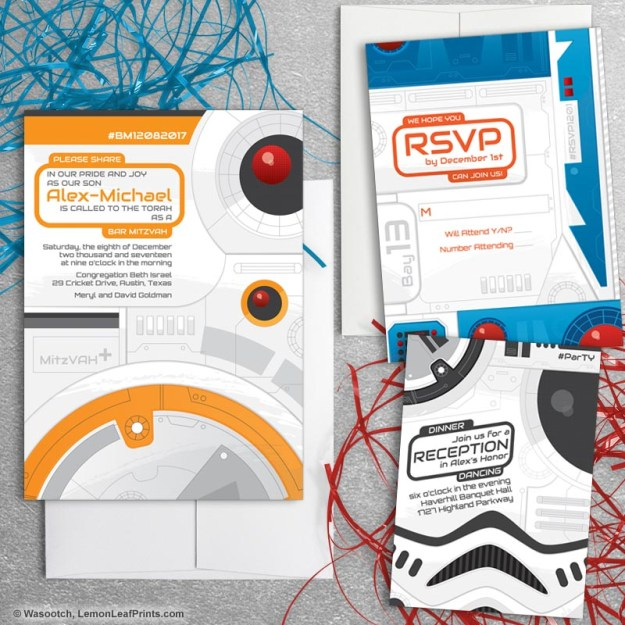 Sci-Fi Movie Star Wars Bar Mitzvah Invitation Set
