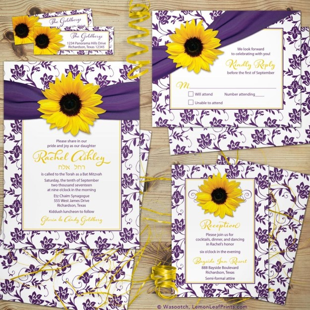 Purple Floral Yellow Sunflower Bat Mitzvah Invitation Set