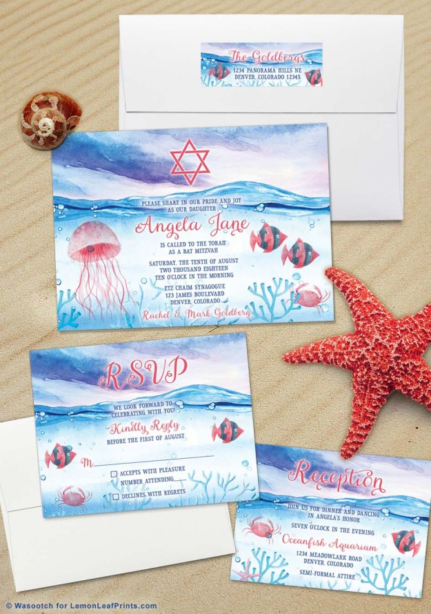 Under the sea Bat Mitzvah Invitation Set