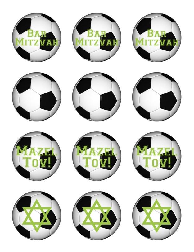 Free printable soccer Bar Mitzvah cupcake toppers