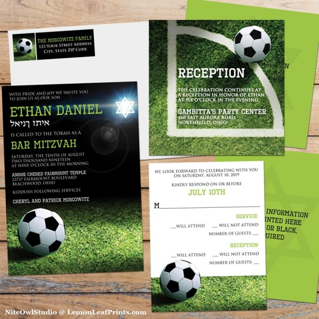 Soccer or World Cup Bar Mitzvah Invitation Set