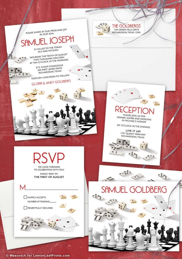 Board game Bar Mitzvah invitation set