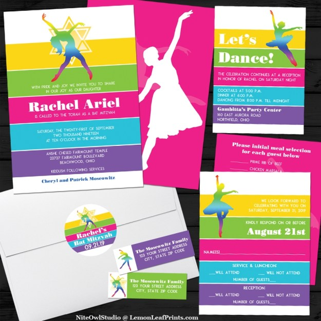 Dance Dancing Dancer Bat Mitzvah Invitation Suite
