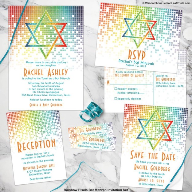 rainbow bat mitzvah invitation set with cascading pixels and star of