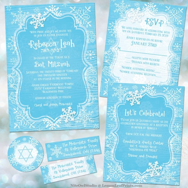 Blue white whimsical snowflake winter Bat Mitzvah invitation set