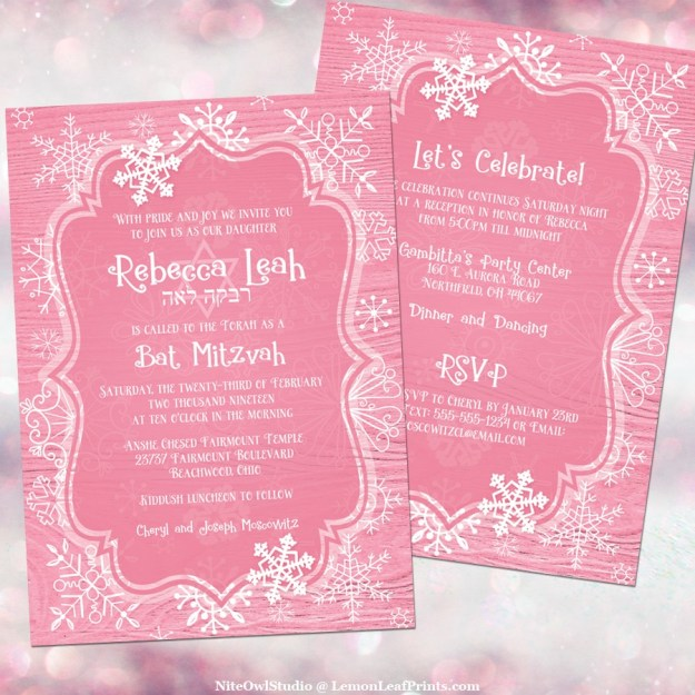 Pink white whimsical snowflake winter Bat Mitzvah invitation front and back