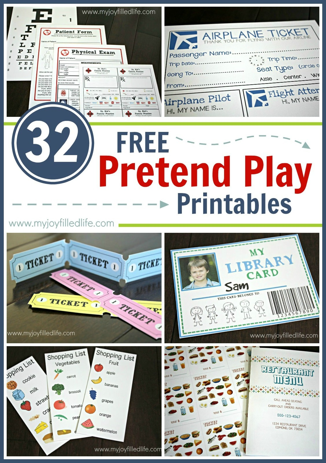 Free Pretend Play Printables Pin