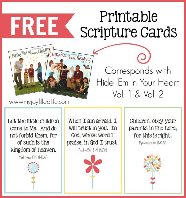 FREE Printable Scripture Cards that correspond with Hide Em in Your Heart CDs