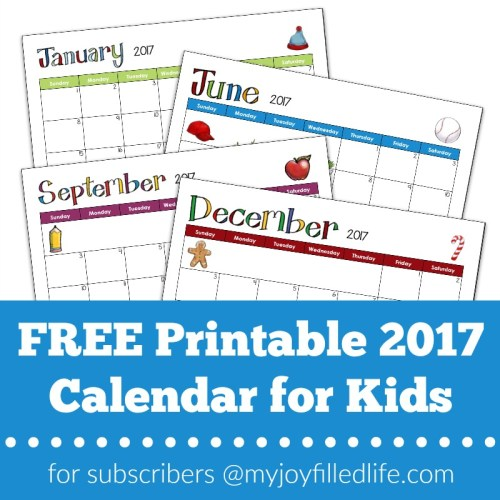 FREE Printable 2017 Calendar for Kids