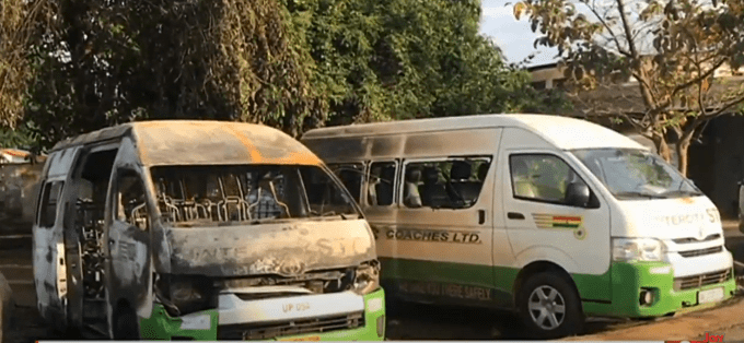 Suspected separatist group attacks Ho STC, burnt 1 bus and damaged another  - MyJoyOnline.com