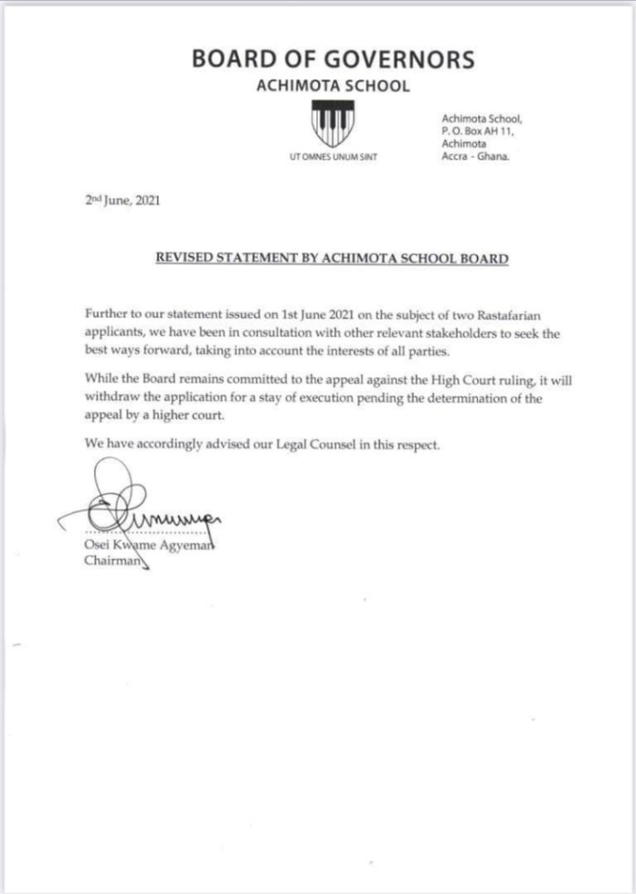 Achimota School withdraws application for stay of execution