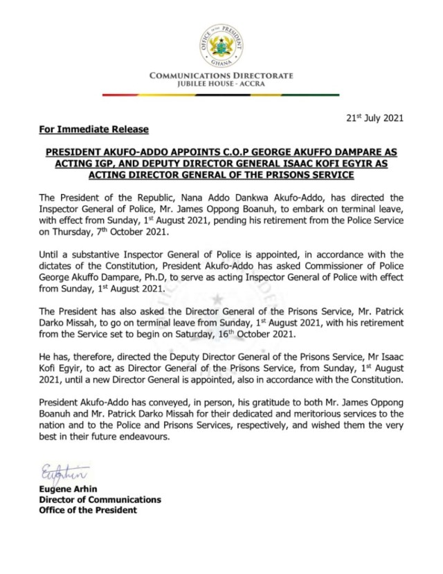 Isaac Kofi Egyir appointed Acting Director-General of Prisons Service