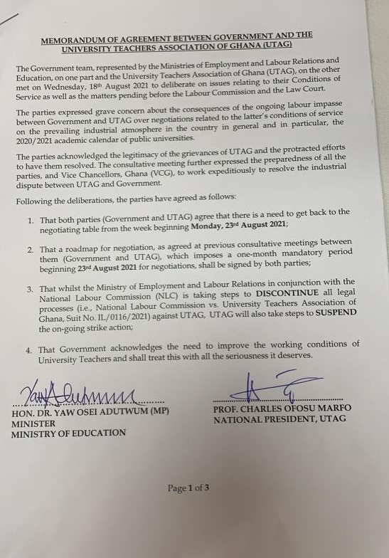 UTAG agrees to call off strike as NLC and Employment Ministry move to discontinue legal process
