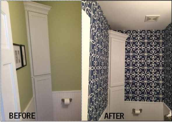 Before and after bathroom remodel with wallpaper.