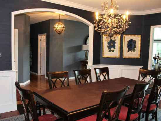 Navy and red dining room design.