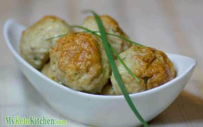 Low Carb Chicken, Cheddar and Chives Meatballs