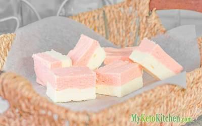 Low Carb Vanilla Strawberry Fudge Fat Bombs