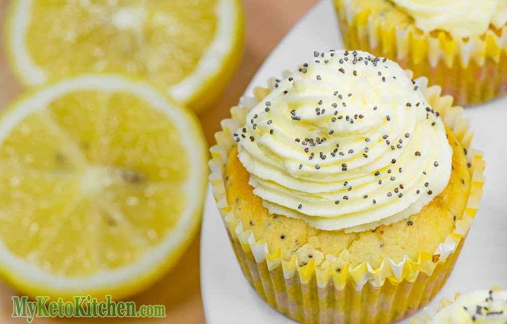 Low Carb Ketogenic Lemon Poppy Seed Cupcakes